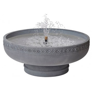 Romanesque bowl fountain on pedestal - Slate
