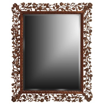 Rose hand carved mirror - Mahogany