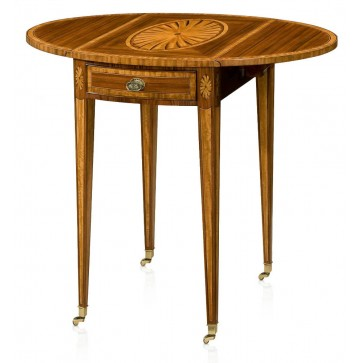 Rosewood and parquetry inlaid Pembroke table