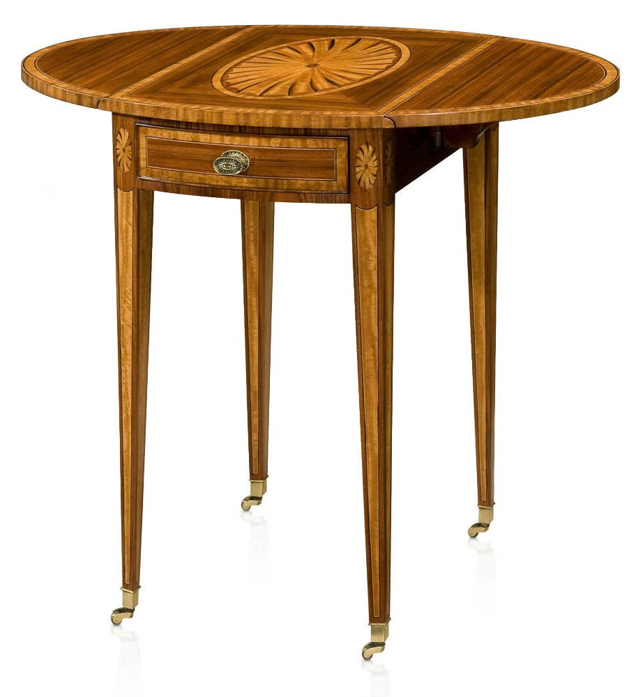 Rosewood and parquetry inlay Pembroke table