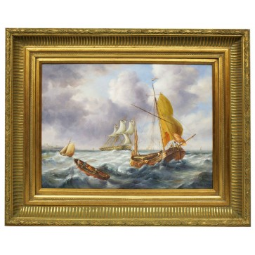 Sail boats in rough sea, framed oil painting