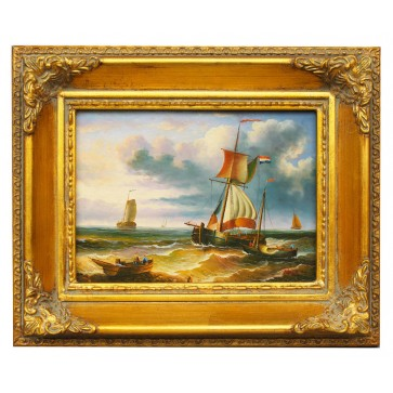 Sail boats in strong wind, framed oil painting