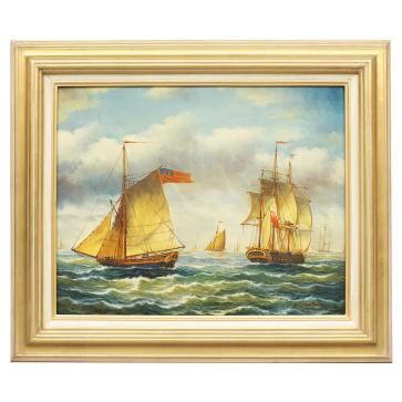 Sailboats in brisk wind, framed oil painting