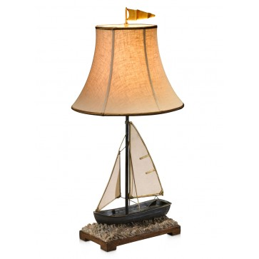 Sailing boat brass table lamp