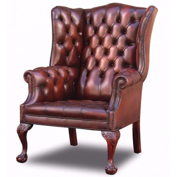 Salisbury Leather Wing Chair on extended leg