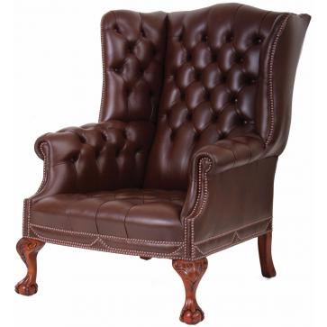 Salisbury leather wing chair with additional nailing
