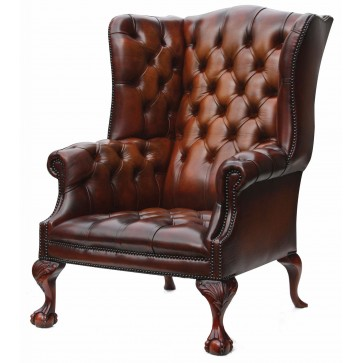 Salisbury wing chair in hand dyed hide