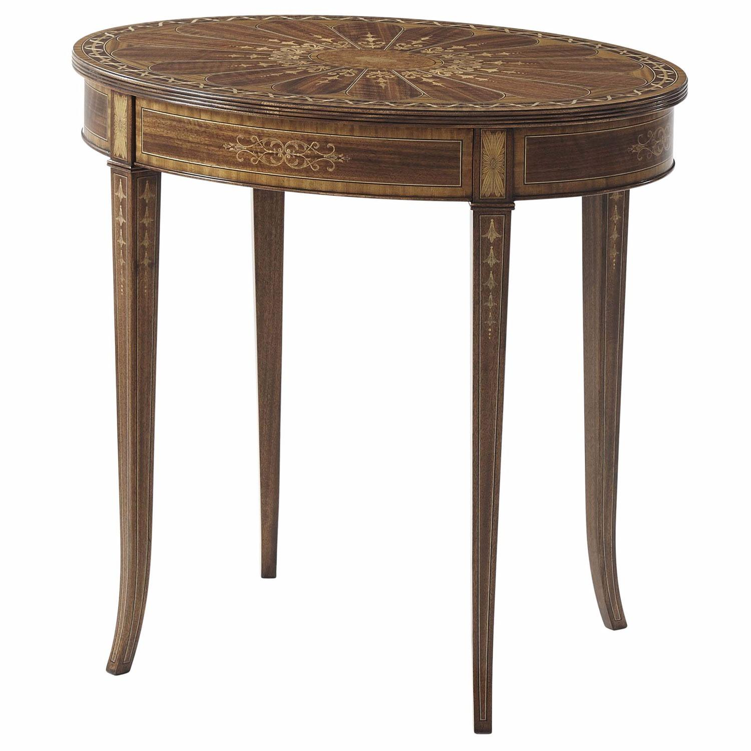 Satinwood banded and marquetry occasional table