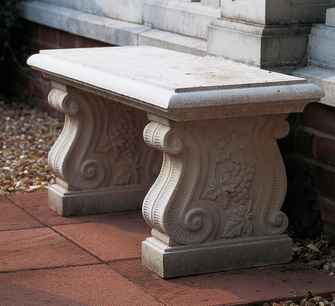 Stone Garden Seats: Scroll Stone Bench, From Brights Of Nettlebed