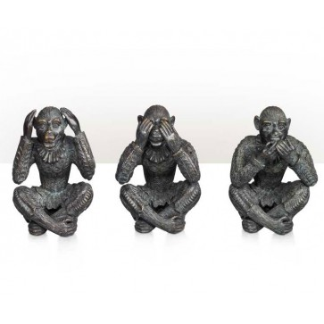 Set of three bronze monkeys
