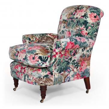 Shelley bedroom chair in Linwood Jungle Rumble velvet