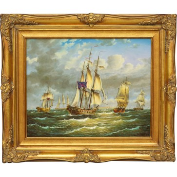 Ships, framed oil painting