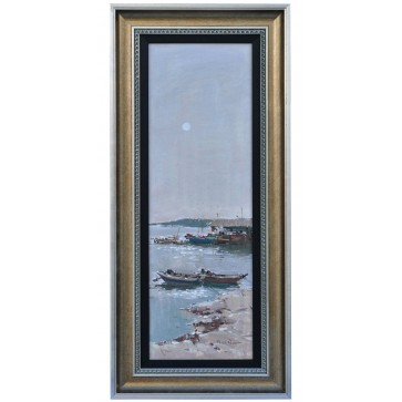 Shrimp boats at anchor, framed oil painting