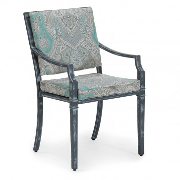 Sienna metal outdoor dining chair with enhanced fabric cushions