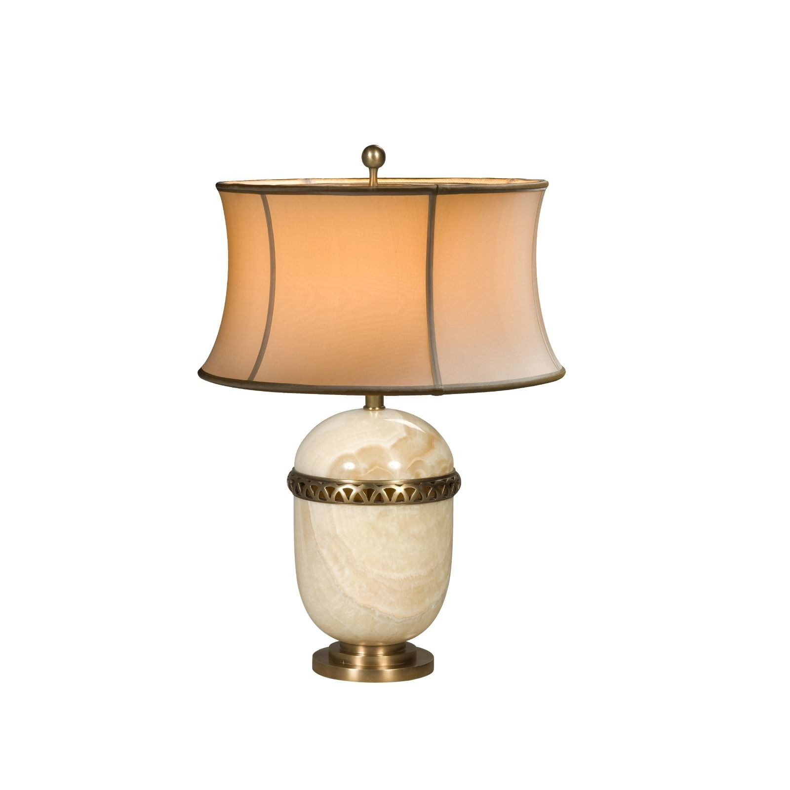 Silk shade Alabaster table lamp