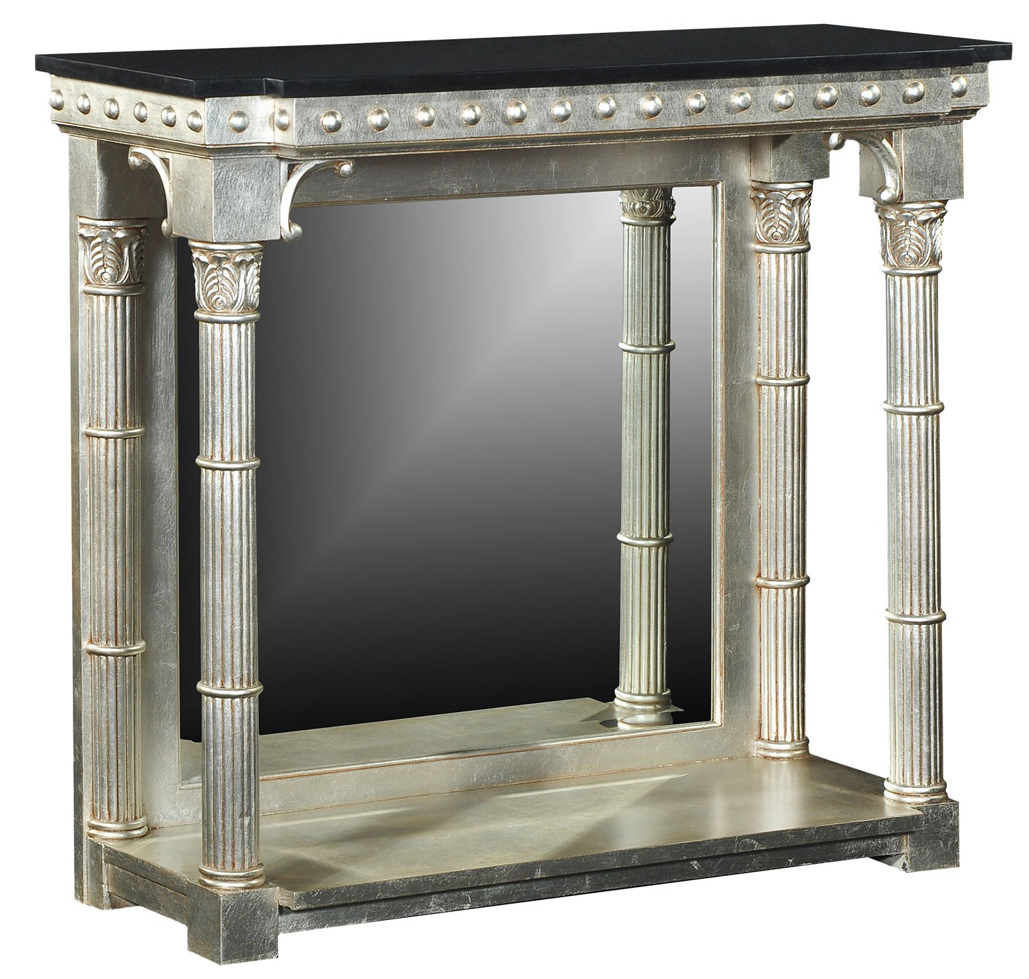 Silver console table with black granite top console hall tables silver console table with black granite top geotapseo Image collections