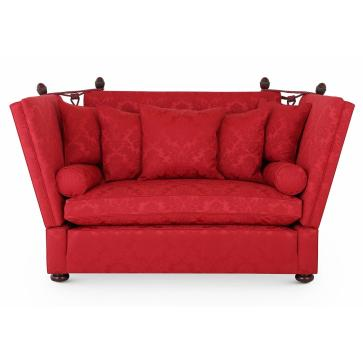 Singapore Knole 2 seat sofa in Lymington Claret Damask