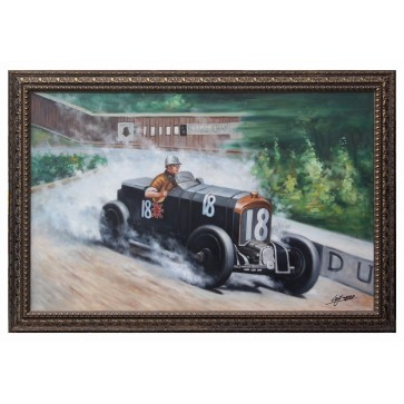 Sir Henry Birkin in a Bentley Blower Framed Oil Painting