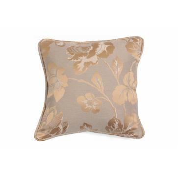 "Square 12"" small scatter cushion in metallic gold floral fabric"