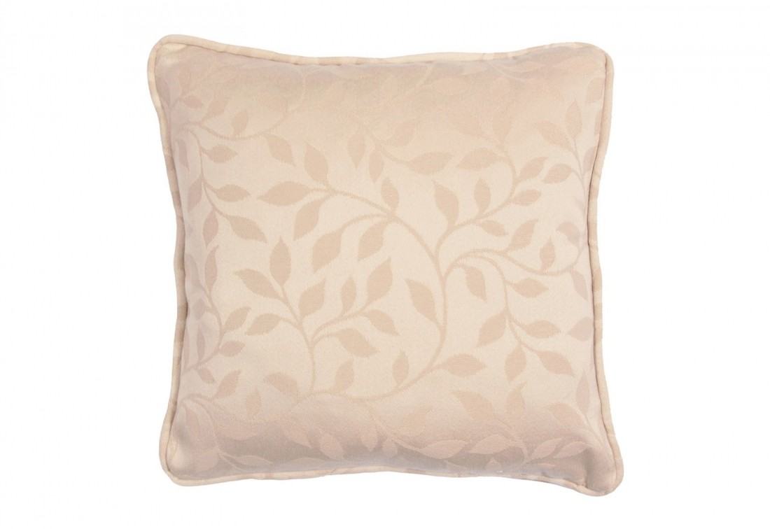"Square 12"" small scatter cushion in natural floral weave"