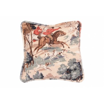 "Square 12"" small scatter cushion in Tally Ho velvet print"
