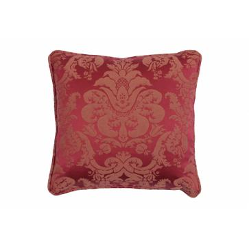 "Square 12"" small scatter cushion in traditional red damask"