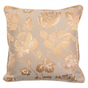 "Square 18"" scatter cushion in metallic gold floral fabric"