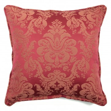 "Square 18"" scatter cushion in traditional red damask"