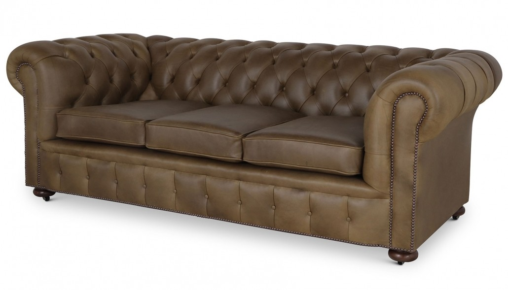 Stanhope 3 seat Chesterfield in olive green leather