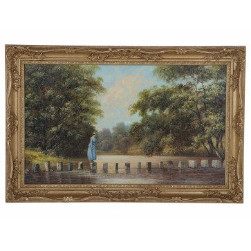 Stepping stones at Ambleside 1888 original oil painting