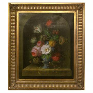 Still life oil painting of flowers in a vase