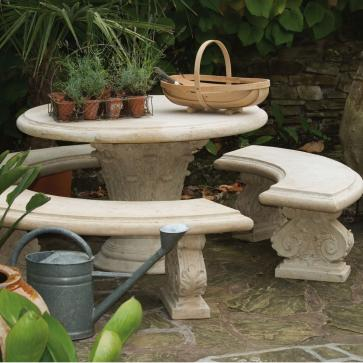 Stone round table with three curved benches