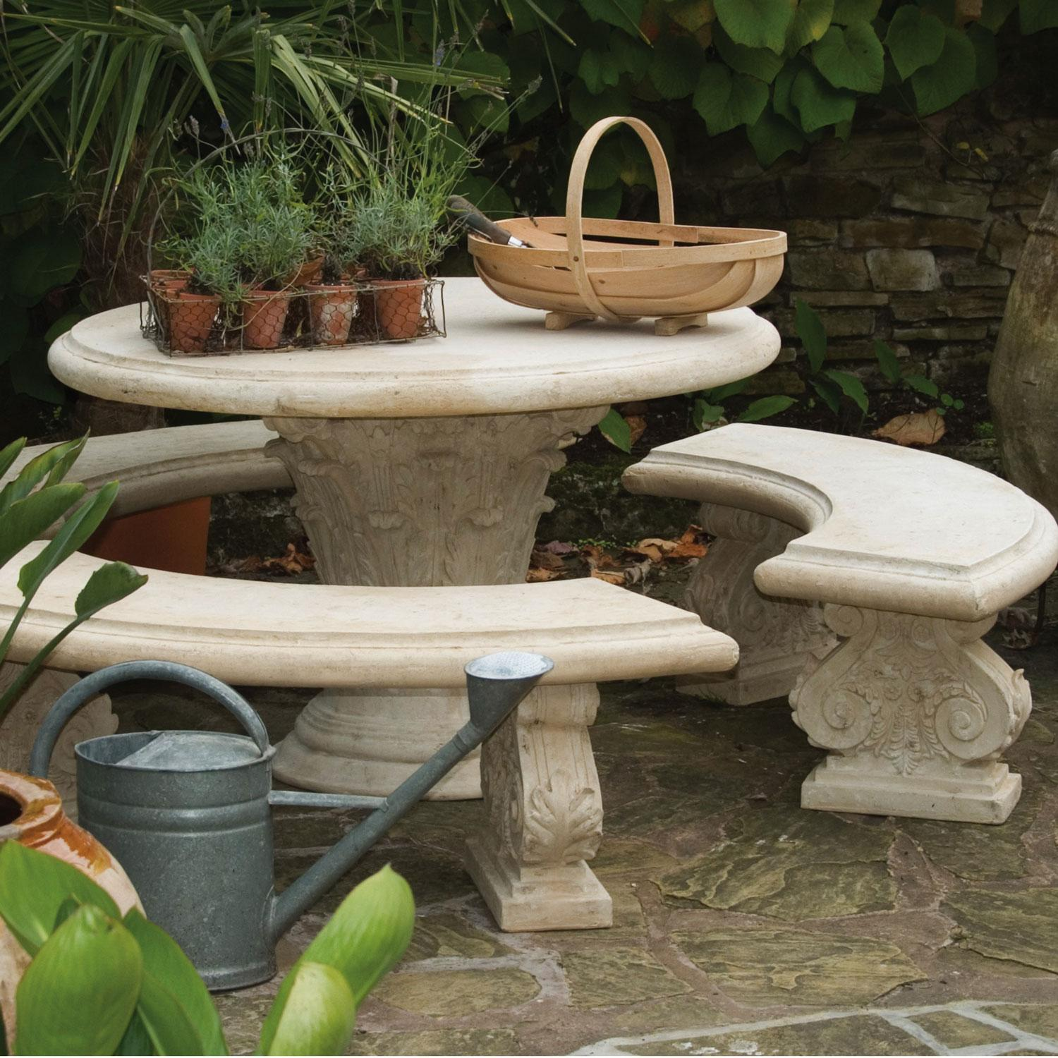Stone Round Table With Three Curved Benches Stonework