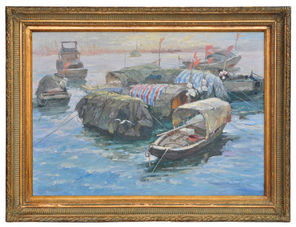Sunset over fishing craft on the Yangste Kiang, framed oil painting
