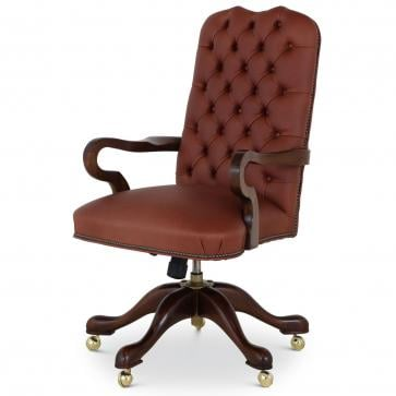 Swan buttoned leather swivel chair - dark tan