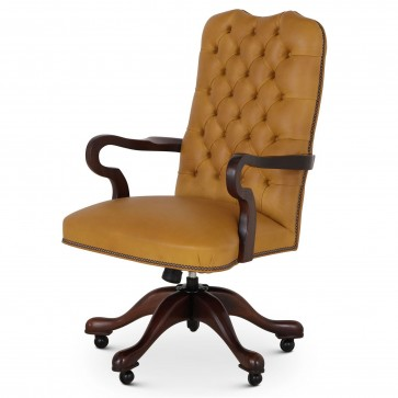 Swan buttoned leather swivel chair - Grande Sycamore