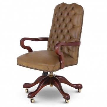 Swan buttoned leather swivel chair - olive