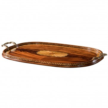 Swirl mahogany and parquetry tray