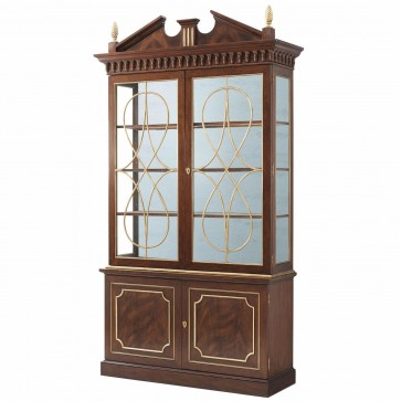 Swirl mahogany display cabinet with decorative glazed doors