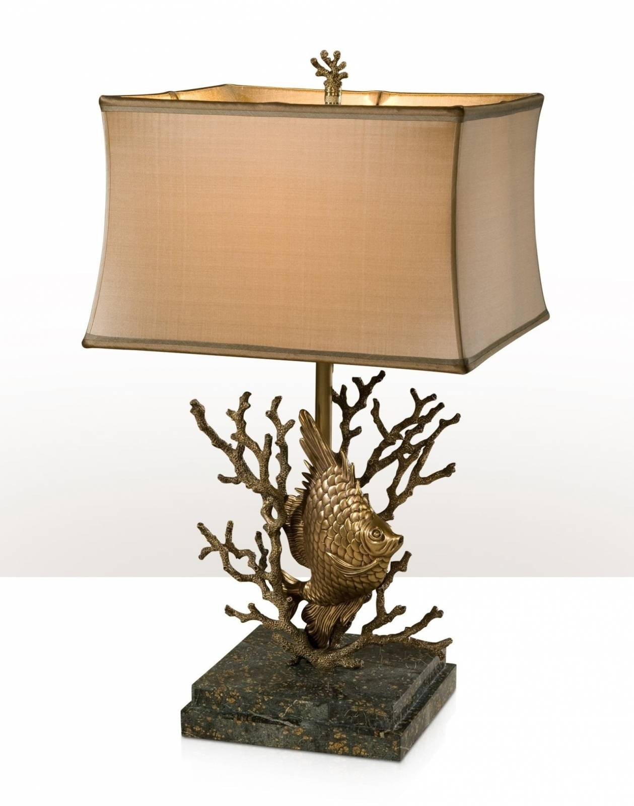 Table lamp with the base of a fish swimming in coral
