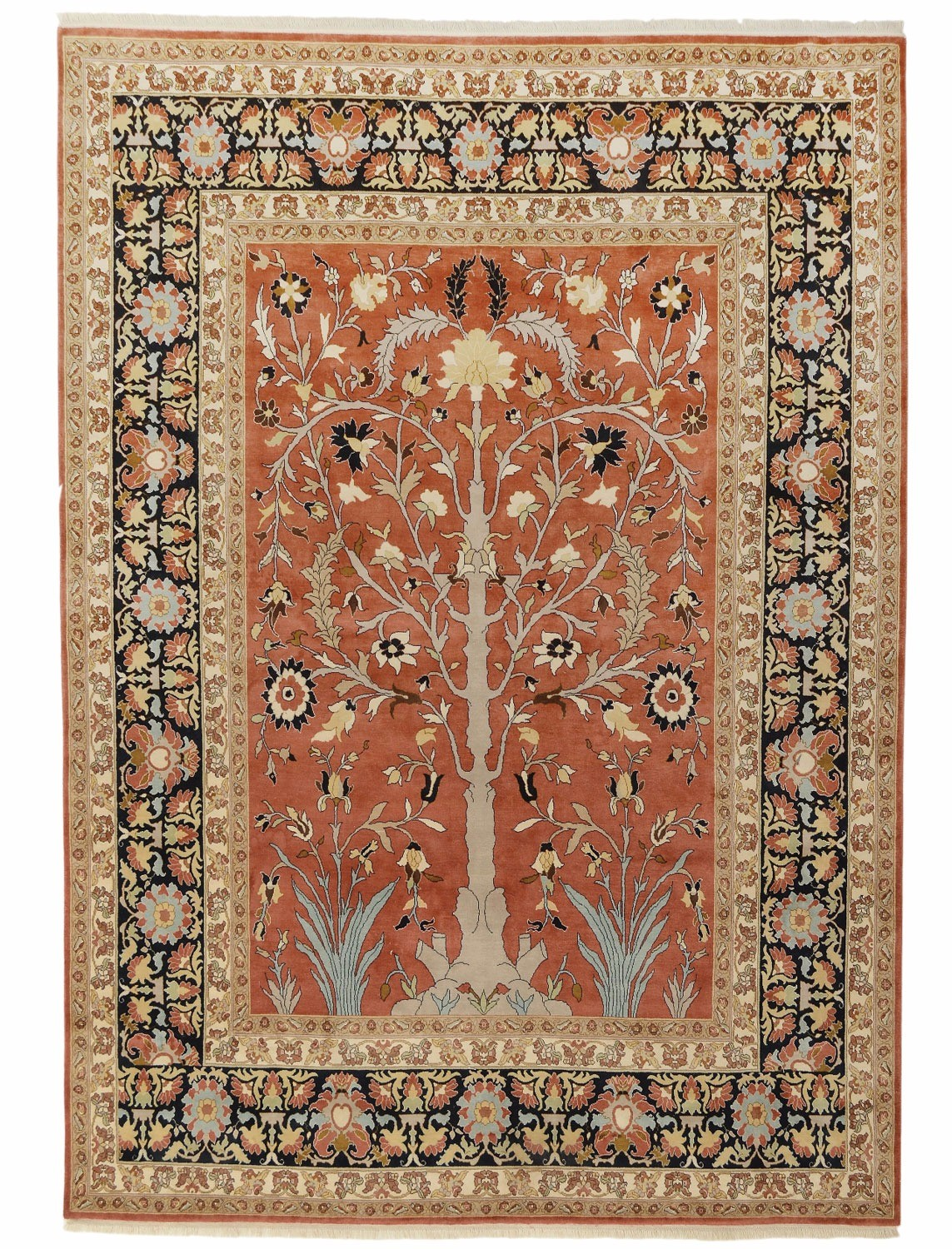 Tabriz Tree of Life design silk pile carpet