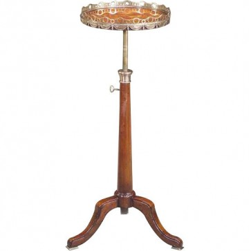 Telescopic circular lamp table in mahogany