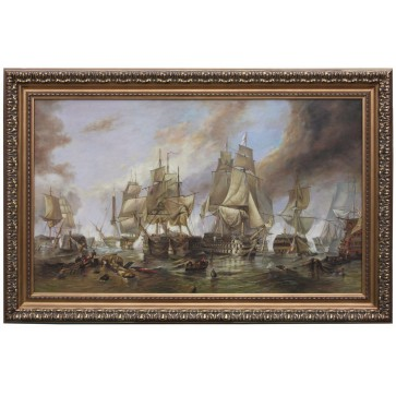 The Battle of Trafalgar framed oil painting