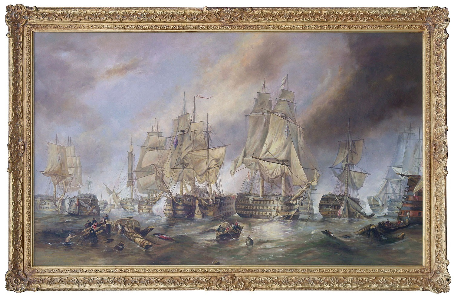 The battle of trafalgar oil painting in hand made frame for Framed reproduction oil paintings