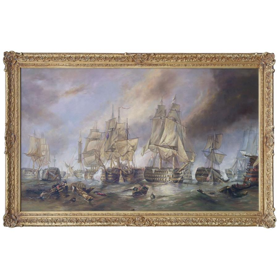The Battle of Trafalgar oil painting in hand made frame