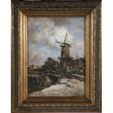 The Bridge by the Windmill, framed oil painting