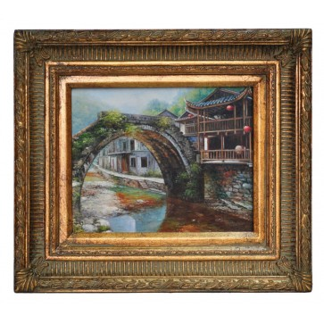 The old bridge at Chenyang, framed oil painting