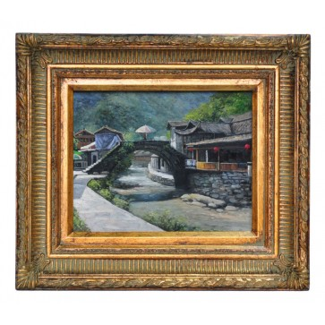 The stepped bridge at Lucyuan, framed oil painting