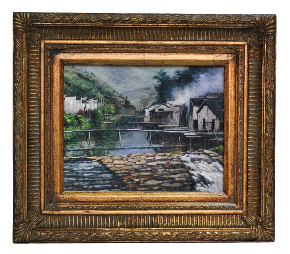 The weir at Nansien, framed oil painting