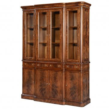 Thomas Hope style mahogany breakfront display cabinet